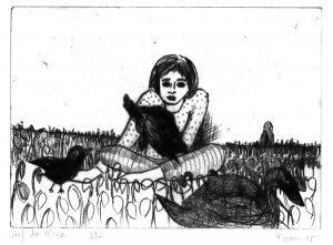 Frau mit Vögeln auf einer Wiese