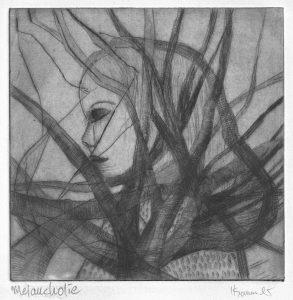 Frau überlagt von einem Baum