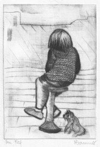 Kind mit Hund auf einem Hocker